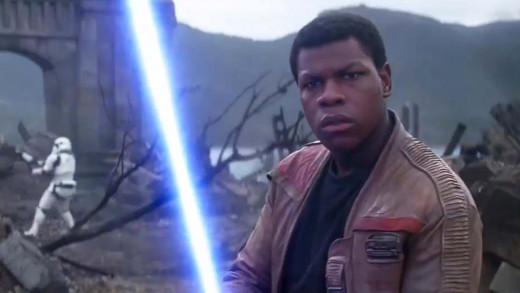 Finn wielding the Skywalker lightsaber