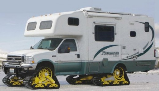 If you're really looking to head to the cold to keep your beer frosty, why not equip your motor home with some snow tracks?