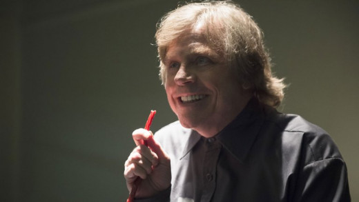 A shot of Mark Hamill, playing the character Trickster on CW's Flash