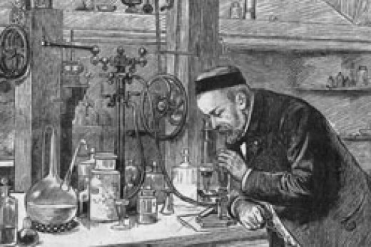 Louis Pasteur working in his laboratory