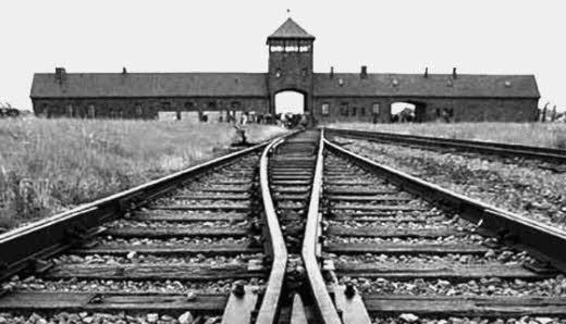 The rails leading to certain death -  Auschwitz.