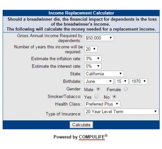 An Income Replacement calculator can determine how much insurance you need to replace the breadwinner's income, adjusted for inflation and investment returns.