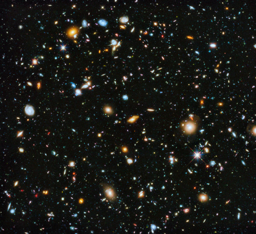 This Image known as 'The Hubble Ultra Deep Field' itself contains at least 10,000 galaxies!