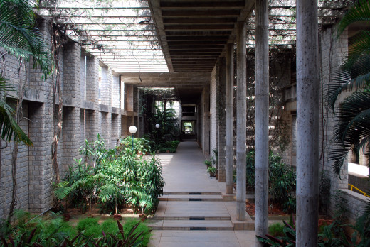 The IIMB campus was designed by celebrated architect B V Doshi.