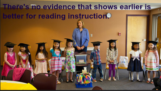 The Common Core standards push reading in kindergarten, but there's no evidence to support this early instruction.