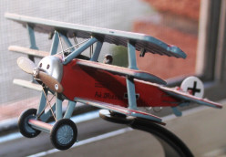 Photo of a model of the Red Baron's aircraft.