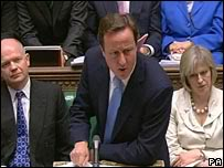 David Cameron At The Dispatch Box In Parliament.