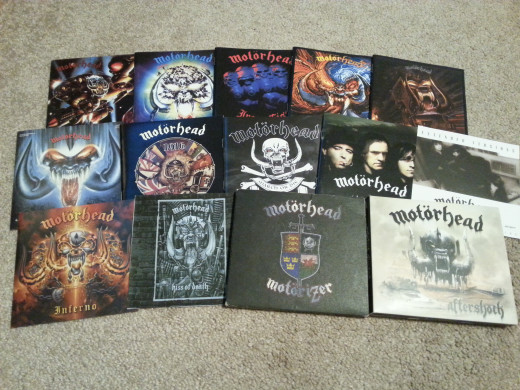 The author's woefully-incomplete collection of Motorhead CDs.