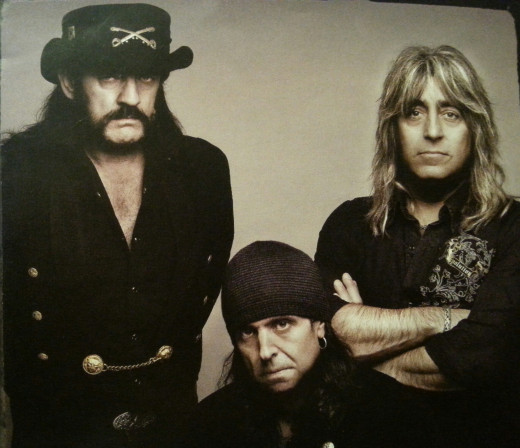 The last, and longest-standing Motorhead lineup, L-R: Lemmy, Phil Campbell, Mikkey Dee