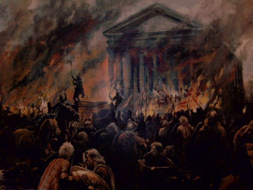 Romans and Romano-Britons took shelter in the recently built temple, to no avail. The rampaging tribes - Iceni and allies - set .fire to the building where the refugees his in the basement. There would be no survivors