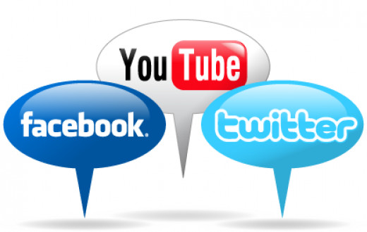 Facebook, Twitter and YouTube