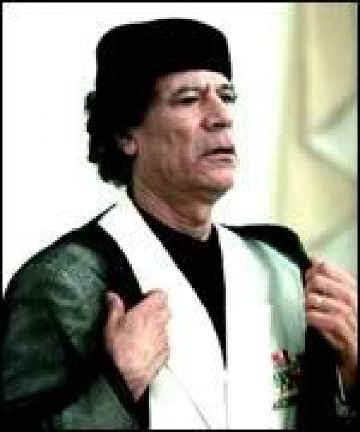 Former Dictator Of Libya: Colonel Gaddafi.