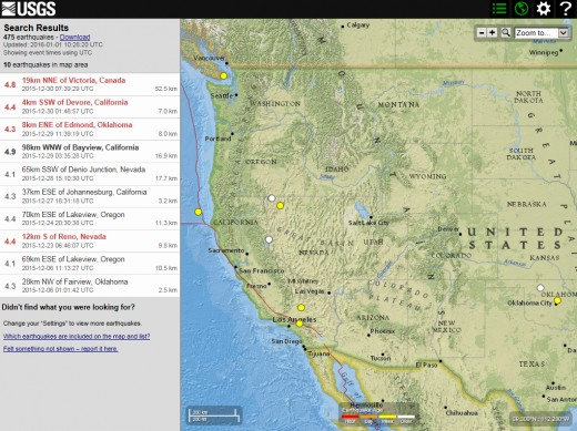 December 2015 earthquakes of 4.1-4.9 magnitude in the continental U.S. and southwest Canada.