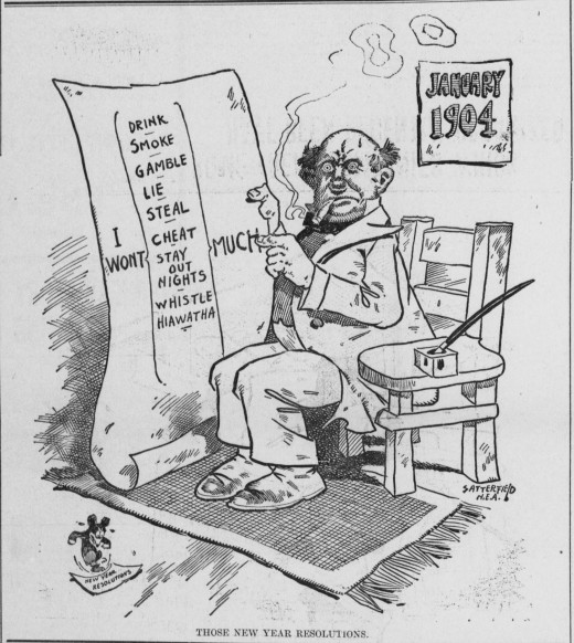 Satterfield cartoon on New Year's Resolutions (1904)