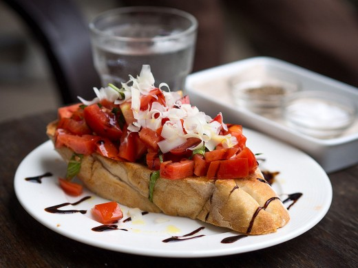 Bruschetta with tomato salad