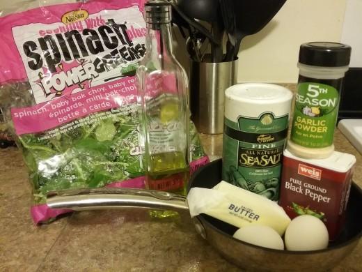 What you need: Olive oil, butter, greens, coarse salt, black pepper, garlic powder, eggs.