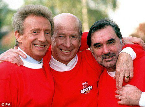 Dennis Law and George Best and Sir Bobby Charlton