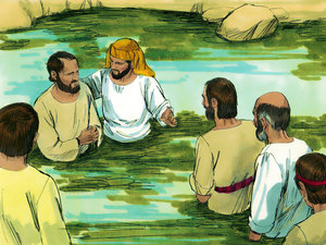 Philip Baptizes new believers.