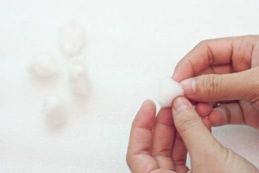 Step 11.  You can buy cotton balls but if you have cotton, rip it into small pieces and make your own cotton balls.  If you bought the cotton balls you can skip this step.
