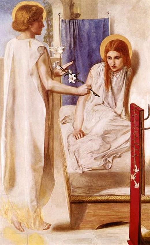Artist: Dante Gabriel Rosetti Title: Ecce Ancilla Domini! Date:1850 MediumOil on canvas and wood Located: Tate Britain