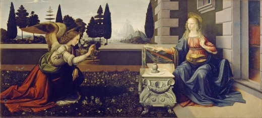 Annunciation by Leonardo da Vinci Date: circa 1473-1475 Technique: Oil on panel Location: Uffizi, Florence