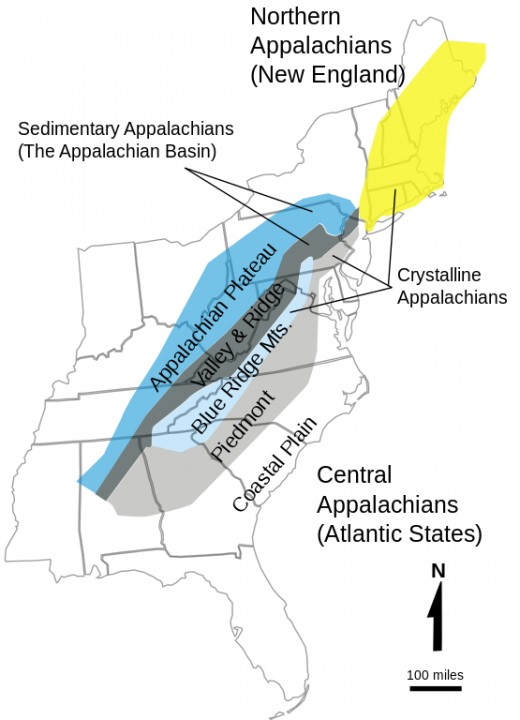 Appalachian Mountain system in eastern United States.