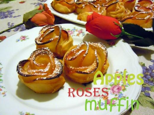 Apples roses muffins dessert