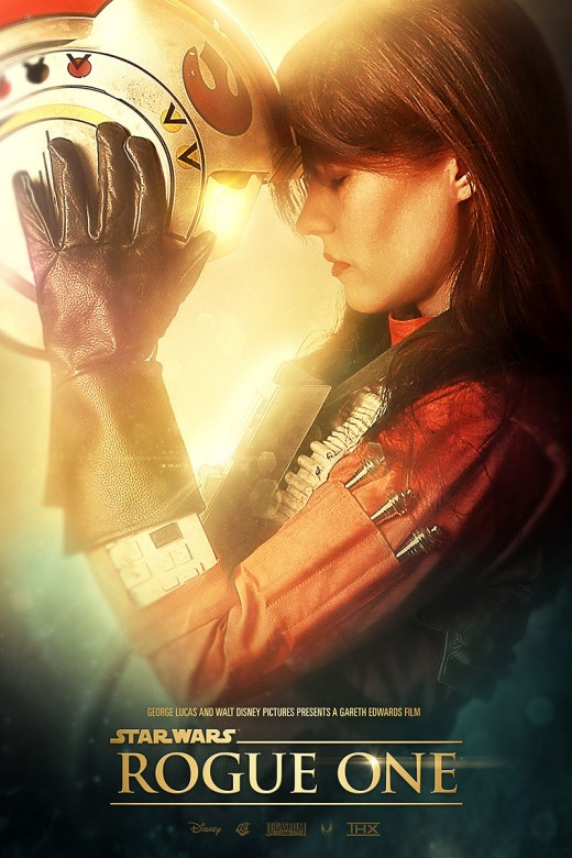 """Felicity Jones as she appears in a """"Rogue One"""" fan poster."""