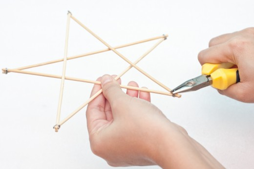 Continue to connect the skewers with the wire.  You will need 5 skewers to make a star.
