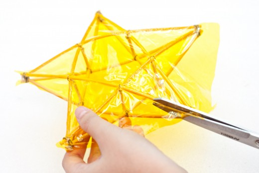 Clean up any excess cellophane by carefully cutting it away.