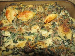 Ground Chuck, Spinach and Alfredo with Pasta--