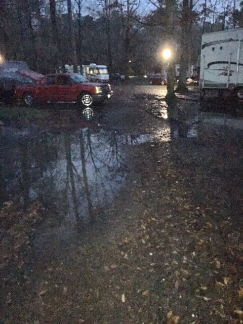 The streets of the campground were all filled with water making driving something done with caution.