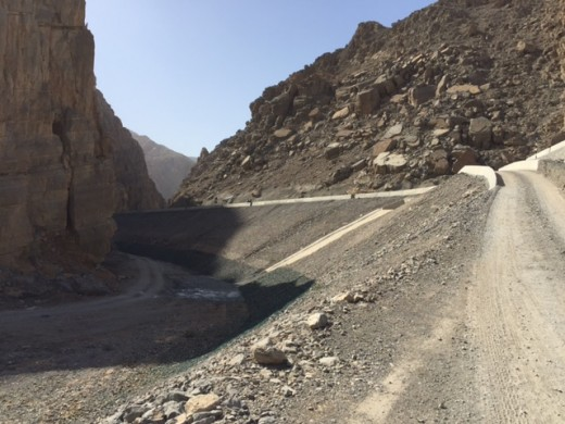 View of the road from inside the wadi entrance