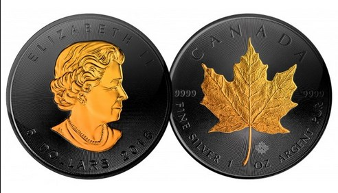 2016 1 oz Silver Canadian Maple Leaf 5 Dollar Coin Plated with Black Ruthenium and 24K Gold Accents on both sides.