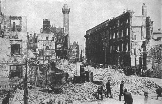 Sackville Street (now O'Connell Street) after the Rising