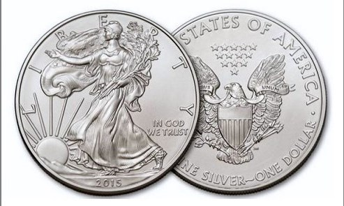 2015 1 oz Silver United States American Eagle with Walking Liberty Dollar.