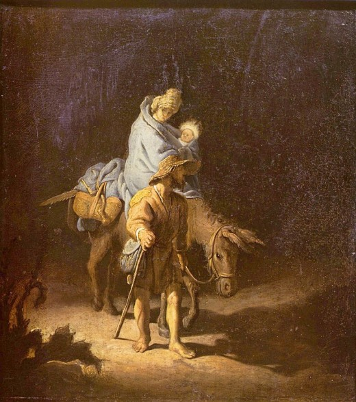 Artist	 Attributed to Rembrandt (1606–1669)  Title	The Flight into Egypt   Date	1627 Medium	oil on oak panel Dimensions	Height: 27.5 cm (10.8 in). Width: 24.7 cm (9.7 in). Current location	 Musée des Beaux-Arts de Tours