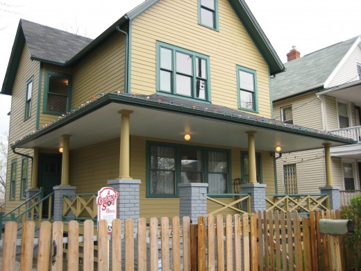 "The yellow Victorian style home used in the movie ""A Christmas Story."""