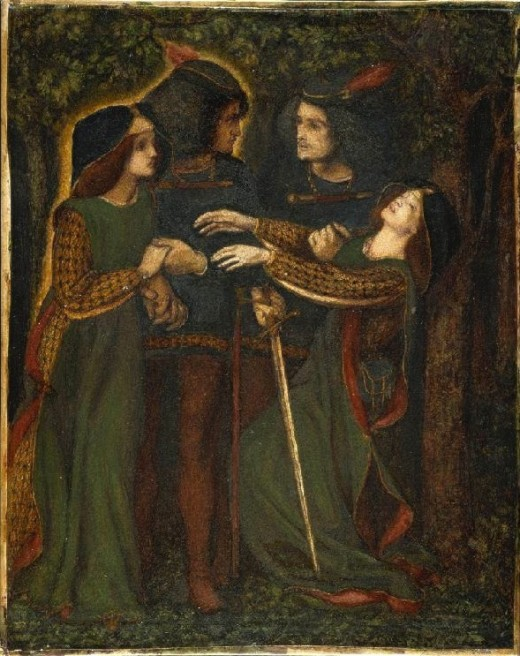 Dante Gabriel Rosetti's How They Met Themselves, Painted in 1864. Showing separation of astral double or doppelganger.