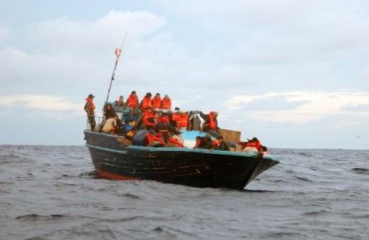 Migrants Arriving By Boat.