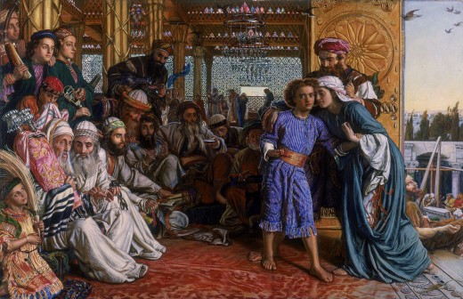 Artist	 William Holman Hunt (1827–1910)    Title	The Finding of the Saviour in the Temple  Date	1860 Medium	oil on canvas Current location	 Birmingham Museum and Art Gallery