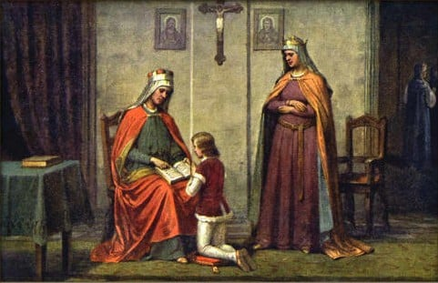 Painting by Josef Mathauser depicting Vratislaus instructing his son Vaclav while Drahomíra looks on.
