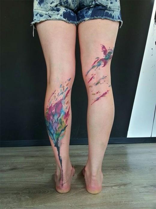 Tree and bird tattoos