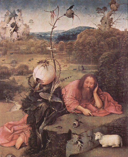 Artist	 Hieronymus Bosch (circa 1450–1516)  Title	Saint John the Baptist in the Wilderness. Date	1489 (?) Medium	oil on panel Dimensions	Height: 49 cm (19.3 in). Width: 40.5 cm (15.9 in).  Current location	 (Inventory)Museum of Lázaro Galdiano