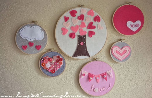 Embroidery hoop art is gorgeous!  Get some fabric, cut out felt designs and heart shapes.  Glue them onto your fabric and secure it in the hoop.  Easy peasy and beautiful.