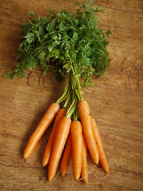 This image shows several carrots. The green tops on carrots are edible, and may be eaten as well as the orange root part.