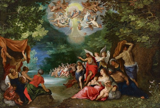 Artist	 Jan Brueghel the Elder (1568–1625) Link back to Creator infobox template wikidata:Q209050 Hans Rottenhammer (1564–1625) Link back to Creator infobox template wikidata:Q559004 Title	The baptism of Christ Date	circa 1608 Medium	oil on copper Di
