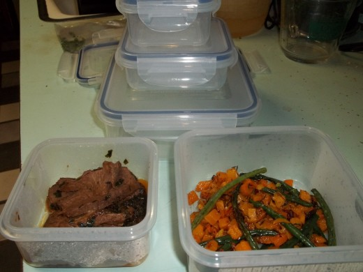 Leftover Pan Seared Steak and Roasted Butternut Squash and Green Beans Almondine.