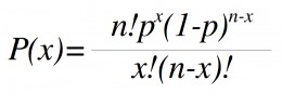 Probability can be calculated with the binomial formula.