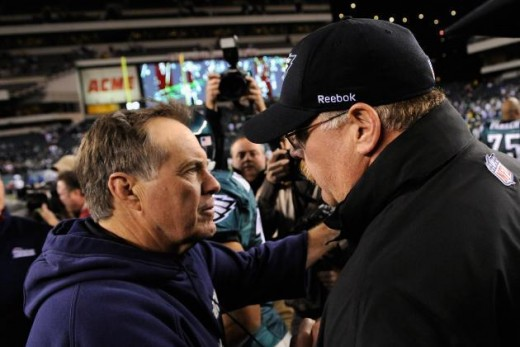 Patriots coach Bill Belichick and Eagles coach Andy Reid after Super Bowl XXXIX